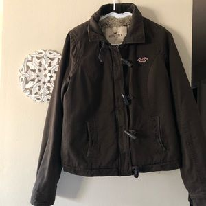 Hollister Jacket Faux Fur Sherpa Lined Canvas Coat